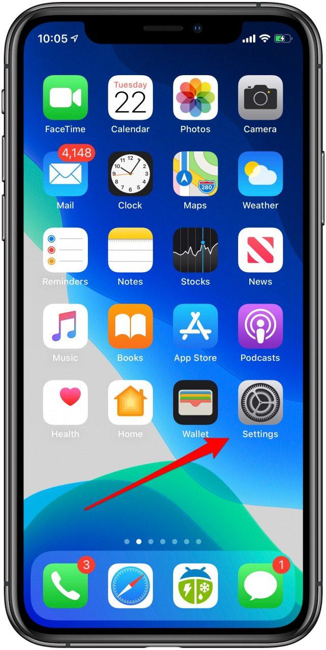 aplicación de configuración de iphone