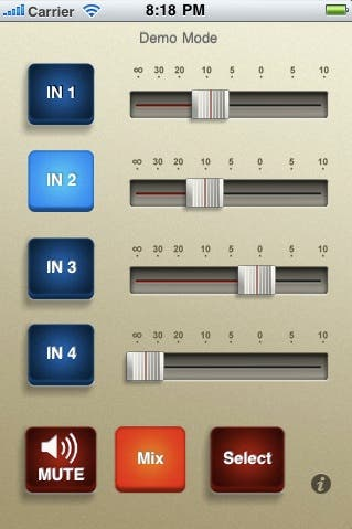 Pantalla de la aplicación Micro Mixer